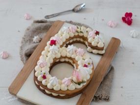 Number cake vanille et poires caramélisées recette anniversaire
