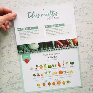 Calendrier perpétuel de fruits et légumes de saison en France à accrocher format A4 ouvert