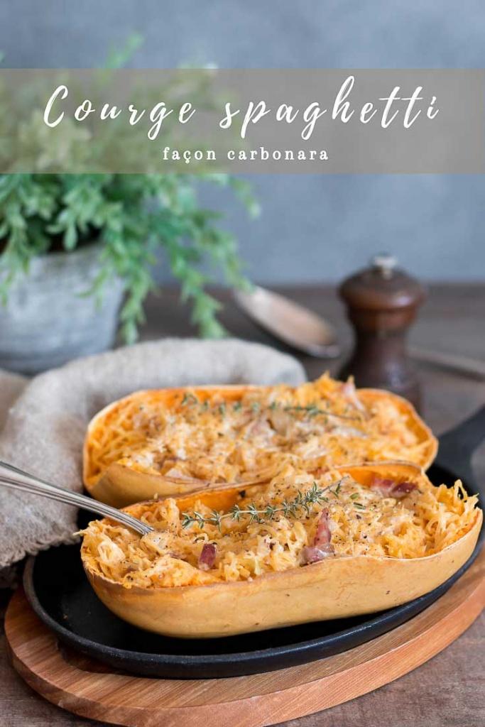 Courge spaghetti façon carbonara recette Pinterest