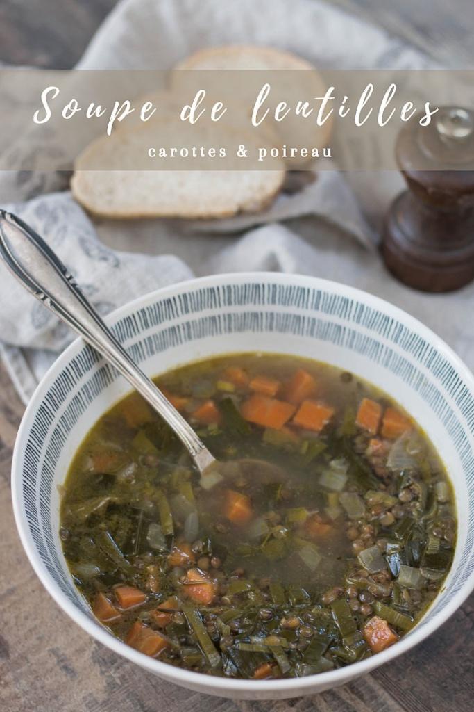 Soupe de lentilles carottes et poireau recette Pinterest